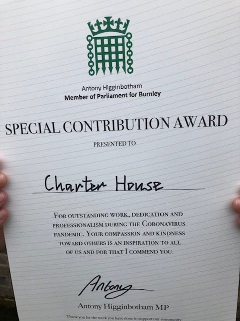 Charter House award for helping vulnerable people in Burnley throughout the Coronavirus Pandemic